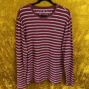 AEO Rust Rest Striped Longsleeve Shirt Size Large
